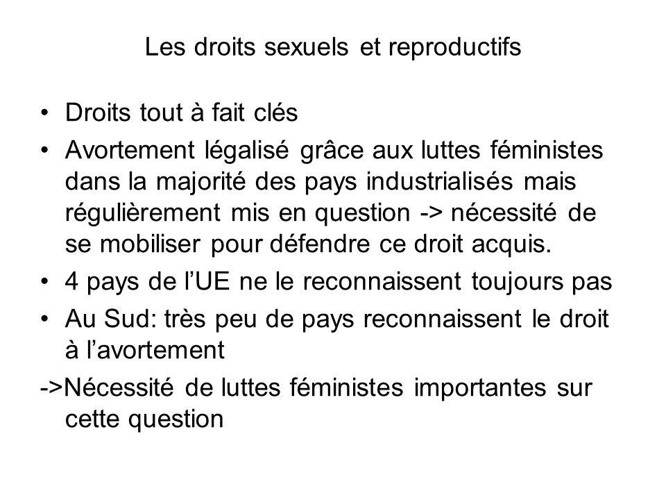 Les droits sexuels et reproductifs Droits tout à fait clés Avortement légalisé grâce aux luttes féministes dans la majorité des pays industrialisés mais régulièrement mis en question -> nécessité de se mobiliser pour défendre ce droit acquis.