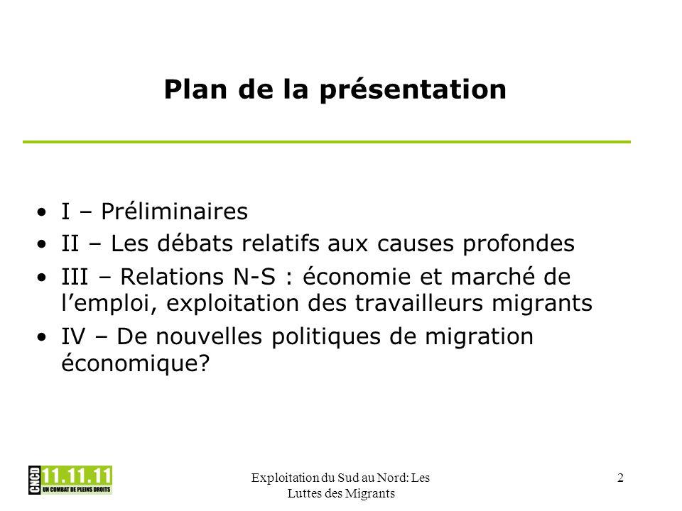 Exploitation du Sud au Nord: Les Luttes des Migrants 2 Plan de la présentation I – Préliminaires II – Les débats relatifs aux causes profondes III – R