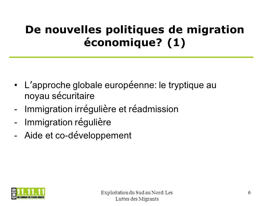 Exploitation du Sud au Nord: Les Luttes des Migrants 6 De nouvelles politiques de migration économique? (1) L approche globale europ é enne: le trypti