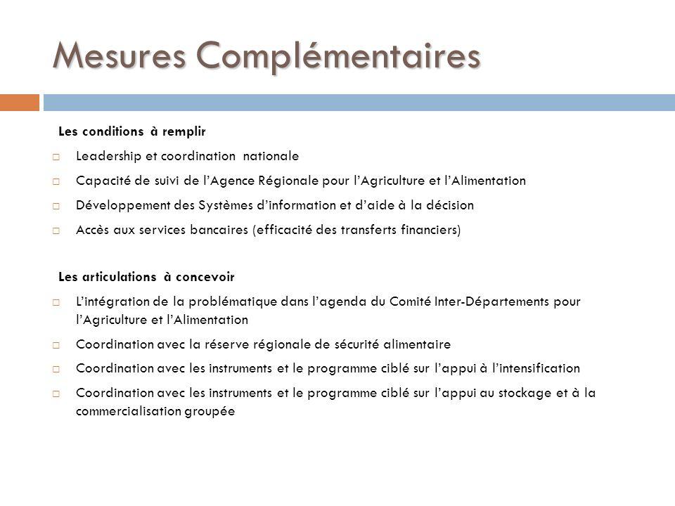 Mesures Complémentaires Les conditions à remplir Leadership et coordination nationale Capacité de suivi de lAgence Régionale pour lAgriculture et lAli