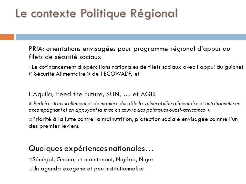 Le contexte Politique Régional PRIA: orientations envisagées pour programme régional dappui au filets de sécurité sociaux 1. Le cofinancement dopérati