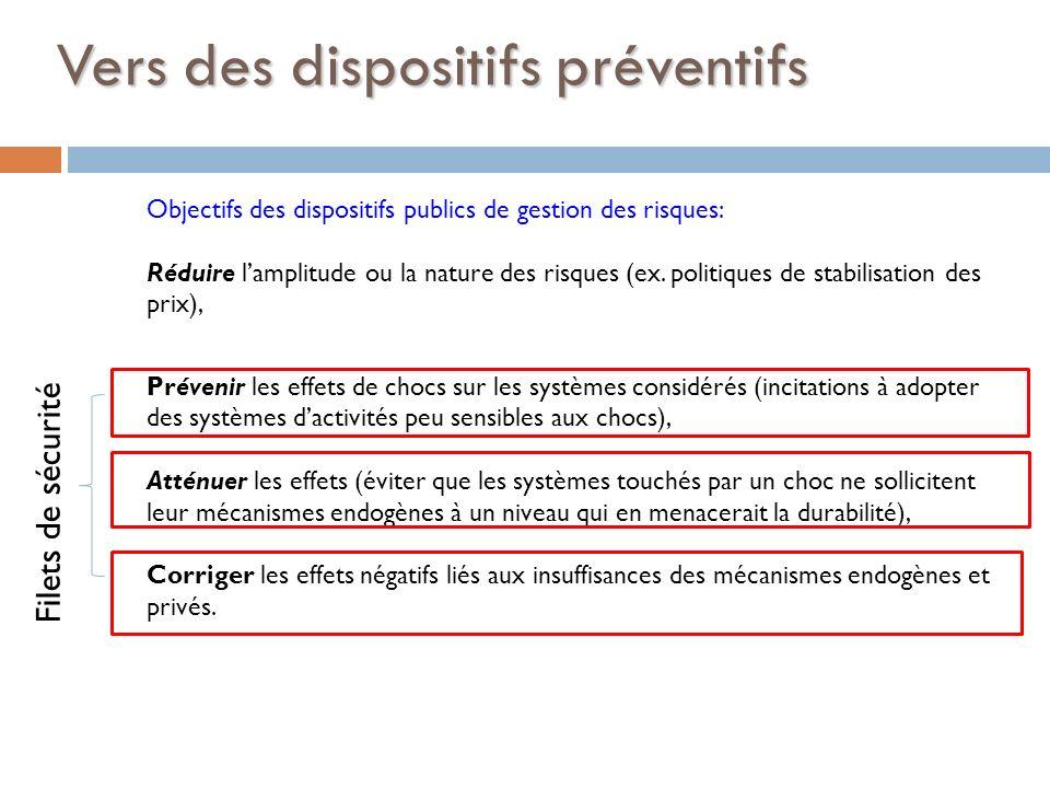Vers des dispositifs préventifs Objectifs des dispositifs publics de gestion des risques: Réduire lamplitude ou la nature des risques (ex. politiques