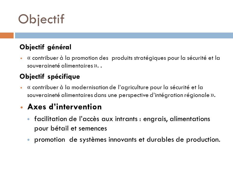 Objectif Objectif général « contribuer à la promotion des produits stratégiques pour la sécurité et la souveraineté alimentaires »..