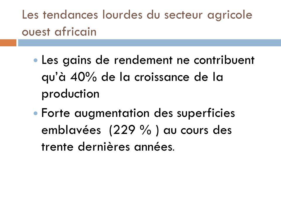 Les tendances lourdes du secteur agricole ouest africain Les gains de rendement ne contribuent quà 40% de la croissance de la production Forte augmentation des superficies emblavées (229 % ) au cours des trente dernières années.