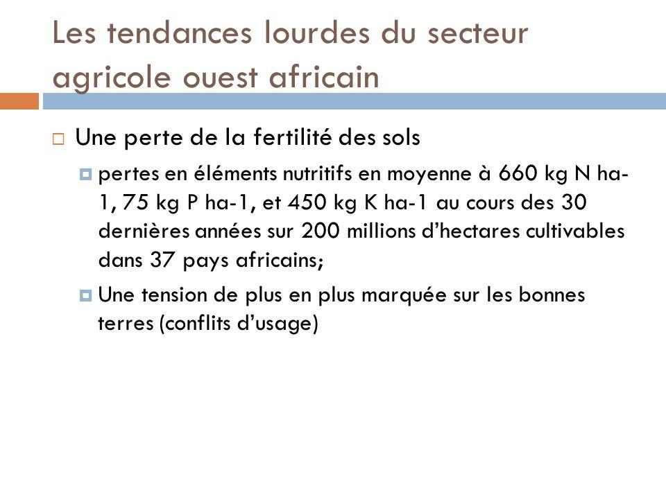 Les tendances lourdes du secteur agricole ouest africain Une perte de la fertilité des sols pertes en éléments nutritifs en moyenne à 660 kg N ha- 1, 75 kg P ha-1, et 450 kg K ha-1 au cours des 30 dernières années sur 200 millions dhectares cultivables dans 37 pays africains; Une tension de plus en plus marquée sur les bonnes terres (conflits dusage)
