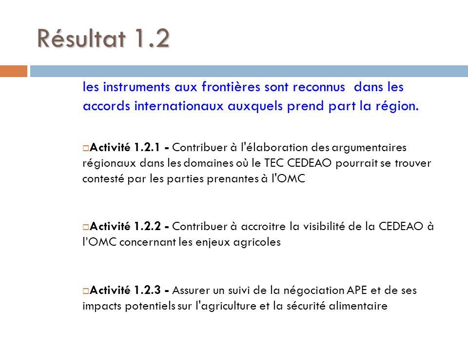 Résultat 1.2 les instruments aux frontières sont reconnus dans les accords internationaux auxquels prend part la région. Activité 1.2.1 - Contribuer à
