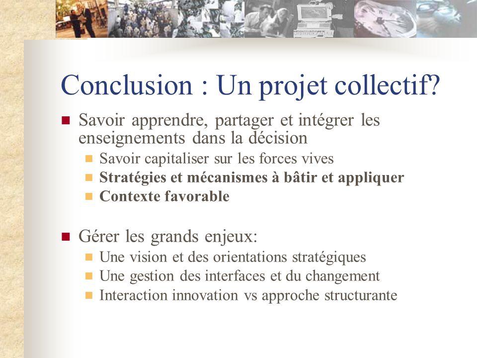 Conclusion : Un projet collectif.