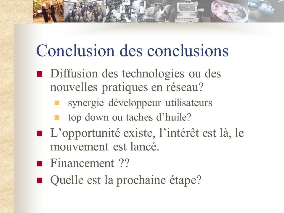 Conclusion des conclusions Diffusion des technologies ou des nouvelles pratiques en réseau.