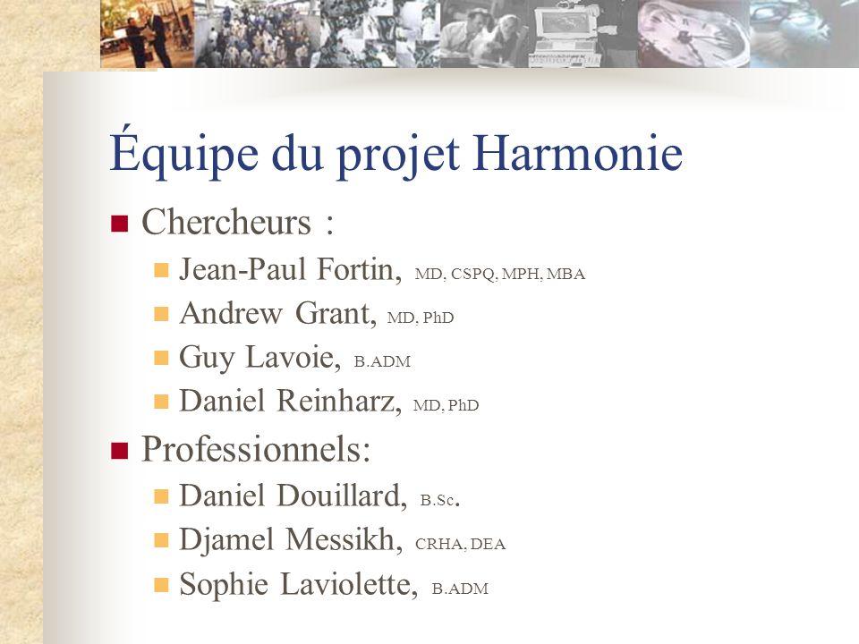 Équipe du projet Harmonie Chercheurs : Jean-Paul Fortin, MD, CSPQ, MPH, MBA Andrew Grant, MD, PhD Guy Lavoie, B.ADM Daniel Reinharz, MD, PhD Professionnels: Daniel Douillard, B.Sc.
