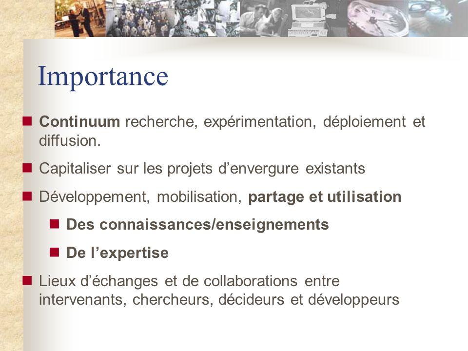 Importance Continuum recherche, expérimentation, déploiement et diffusion.
