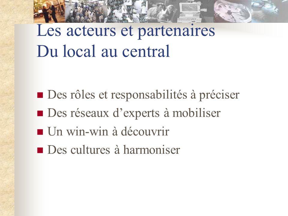 Les acteurs et partenaires Du local au central Des rôles et responsabilités à préciser Des réseaux dexperts à mobiliser Un win-win à découvrir Des cultures à harmoniser