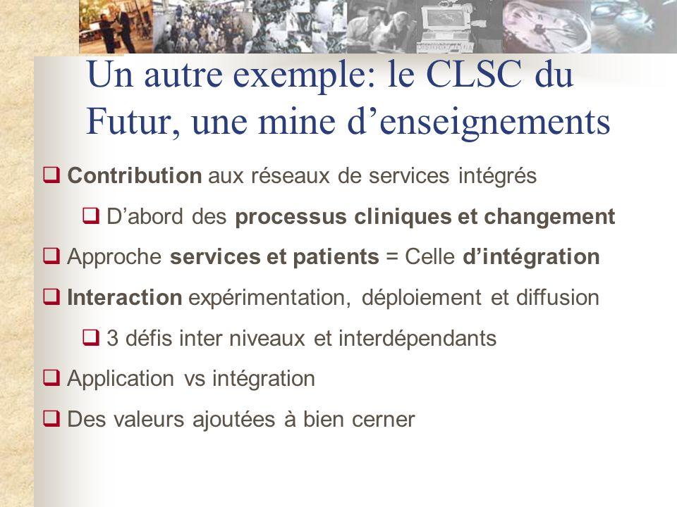 Un autre exemple: le CLSC du Futur, une mine denseignements Contribution aux réseaux de services intégrés Dabord des processus cliniques et changement Approche services et patients = Celle dintégration Interaction expérimentation, déploiement et diffusion 3 défis inter niveaux et interdépendants Application vs intégration Des valeurs ajoutées à bien cerner