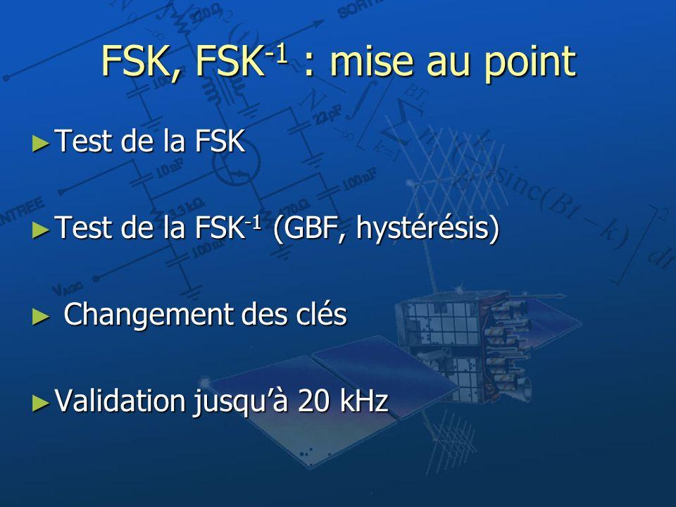 FSK, FSK -1 : mise au point Test de la FSK Test de la FSK Test de la FSK -1 (GBF, hystérésis) Test de la FSK -1 (GBF, hystérésis) Changement des clés