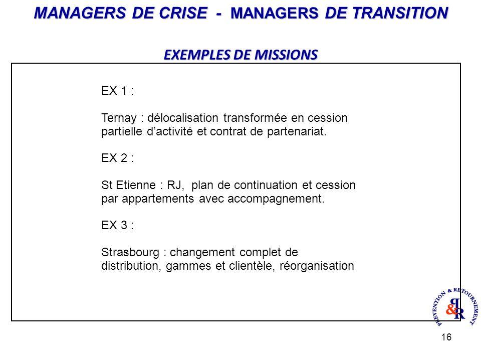 16 MANAGERS DE CRISE - MANAGERS DE TRANSITION EXEMPLES DE MISSIONS EX 1 : Ternay : délocalisation transformée en cession partielle dactivité et contrat de partenariat.