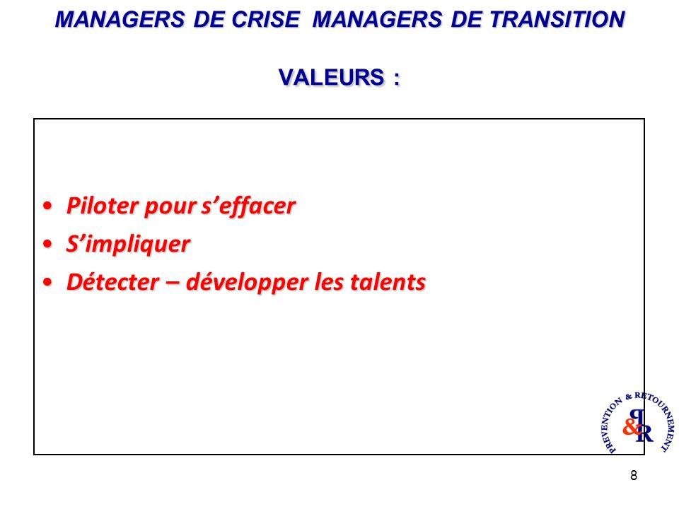 8 MANAGERS DE CRISE MANAGERS DE TRANSITION VALEURS : Piloter pour seffacerPiloter pour seffacer SimpliquerSimpliquer Détecter – développer les talentsDétecter – développer les talents
