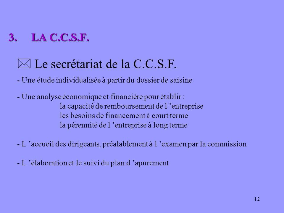 12 * Le secrétariat de la C.C.S.F. - Une étude individualisée à partir du dossier de saisine 3.LA C.C.S.F. 3.LA C.C.S.F. - Une analyse économique et f