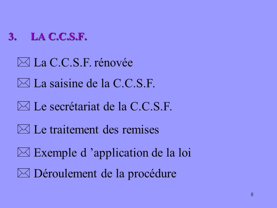 8 * La saisine de la C.C.S.F. 3.LA C.C.S.F. 3.LA C.C.S.F. * La C.C.S.F. rénovée * Le traitement des remises * Exemple d application de la loi * Déroul