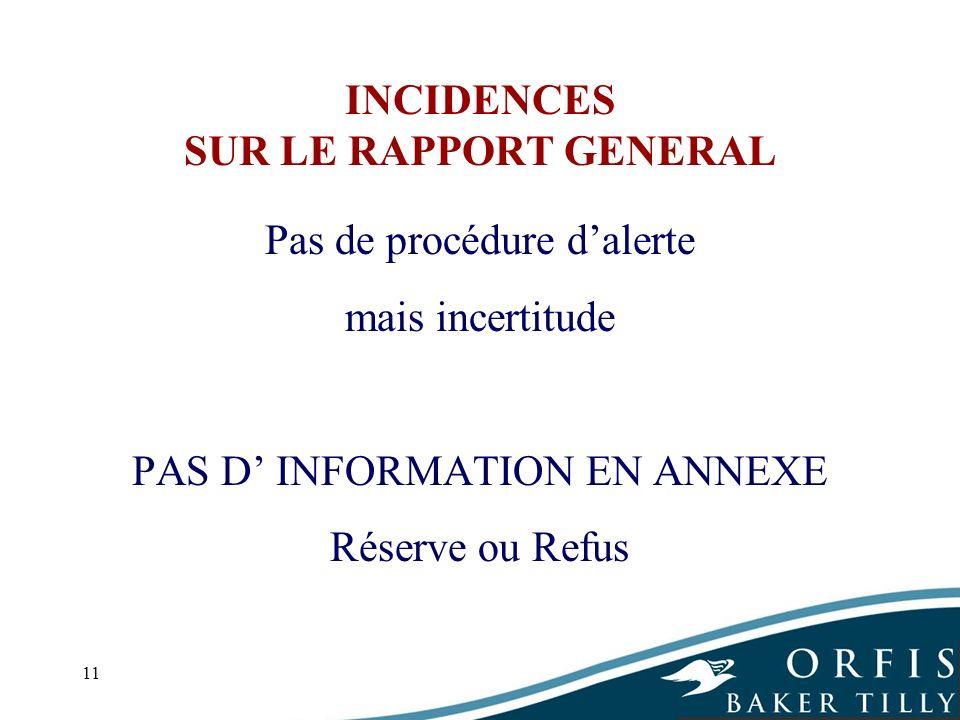 11 INCIDENCES SUR LE RAPPORT GENERAL Pas de procédure dalerte mais incertitude PAS D INFORMATION EN ANNEXE Réserve ou Refus