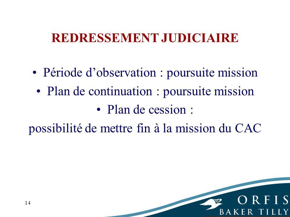 14 REDRESSEMENT JUDICIAIRE Période dobservation : poursuite mission Plan de continuation : poursuite mission Plan de cession : possibilité de mettre f