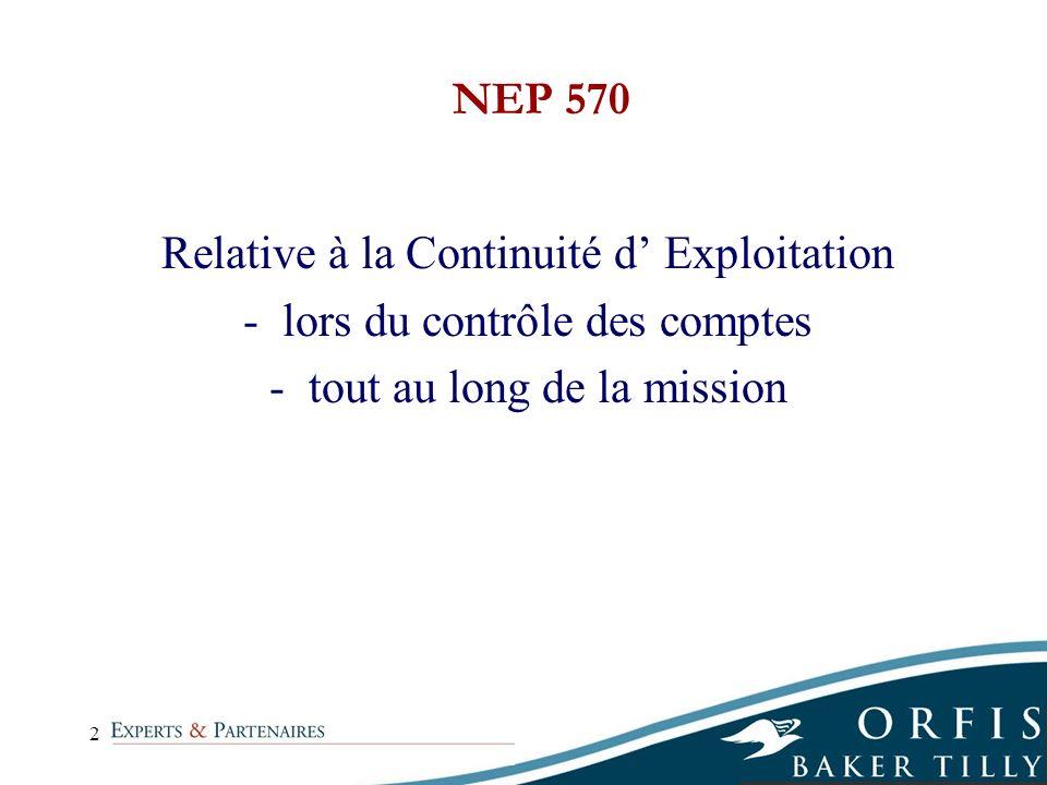 2 Relative à la Continuité d Exploitation -lors du contrôle des comptes -tout au long de la mission NEP 570
