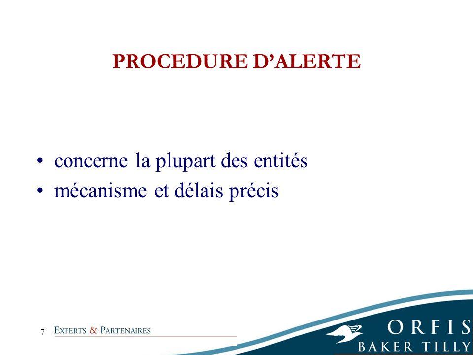 8 PROCEDURE DALERTE 3 ou 4 phases selon entité SA Phase 1 : Président Phase 2 : CA et information du Président du Tribunal de Commerce Phase 3 : Rapport spécial d alerte Phase 4 : AG