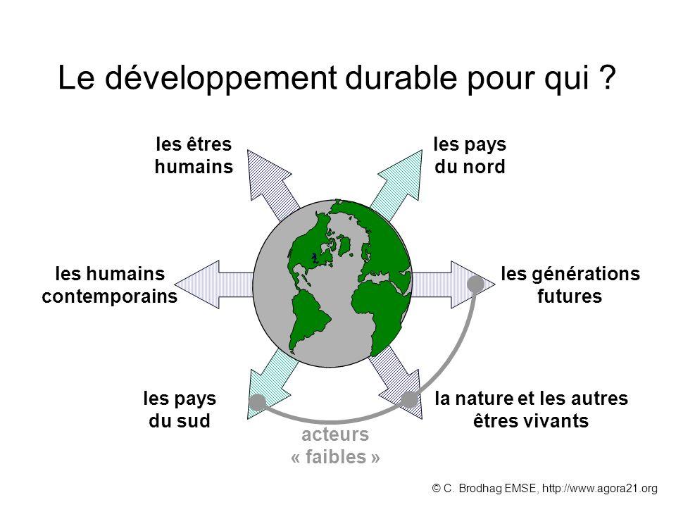 Le développement durable pour qui ? les êtres humains la nature et les autres êtres vivants les pays du nord les pays du sud les humains contemporains