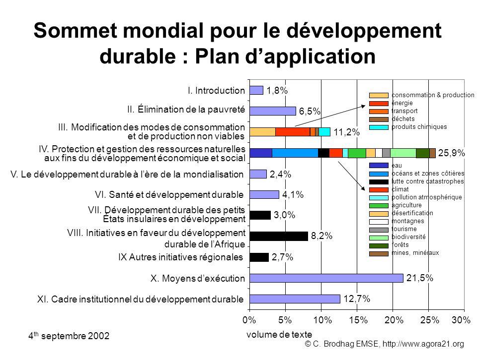 Sommet mondial pour le développement durable : Plan dapplication XI. Cadre institutionnel du développement durable X. Moyens dexécution IX Autres init