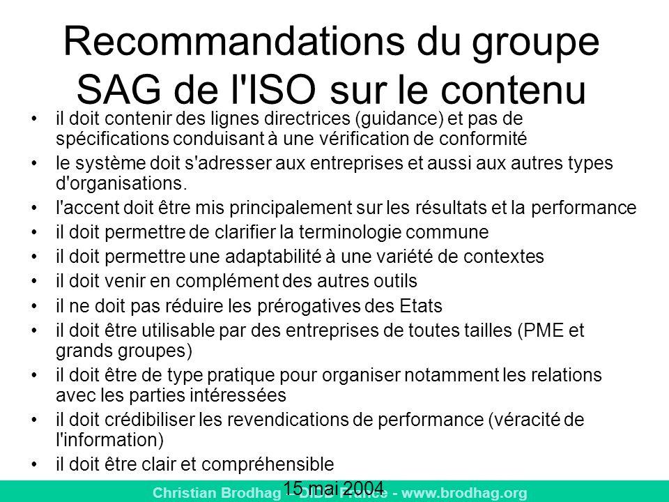 Christian Brodhag – DIDD France - www.brodhag.org Recommandations du groupe SAG de l ISO sur le contenu il doit contenir des lignes directrices (guidance) et pas de spécifications conduisant à une vérification de conformité le système doit s adresser aux entreprises et aussi aux autres types d organisations.