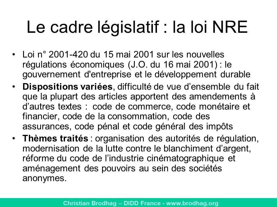 Christian Brodhag – DIDD France - www.brodhag.org Le cadre législatif : la loi NRE Loi n° 2001-420 du 15 mai 2001 sur les nouvelles régulations économiques (J.O.