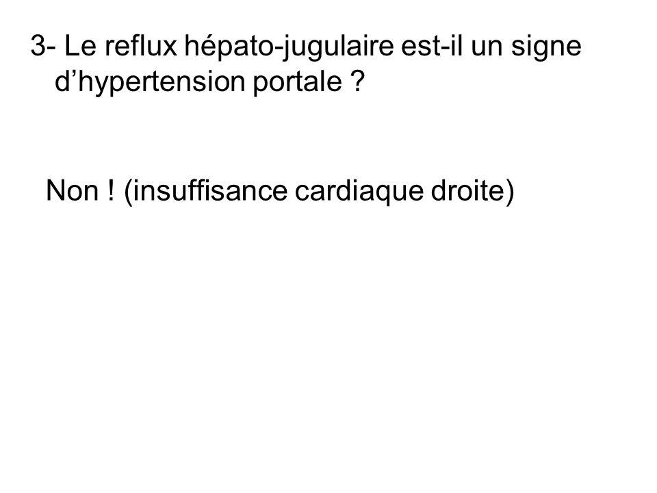 3- Le reflux hépato-jugulaire est-il un signe dhypertension portale ? Non ! (insuffisance cardiaque droite)