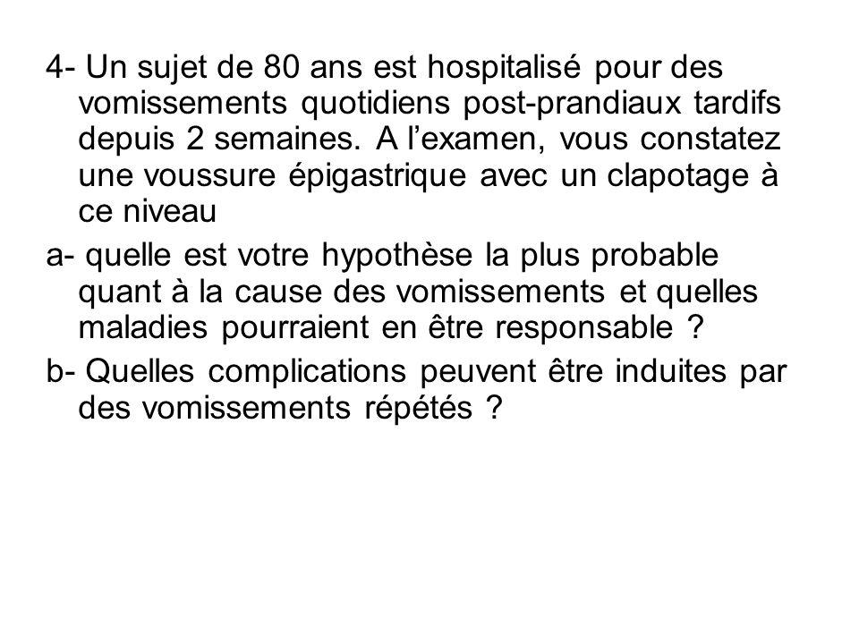 4- Un sujet de 80 ans est hospitalisé pour des vomissements quotidiens post-prandiaux tardifs depuis 2 semaines. A lexamen, vous constatez une voussur