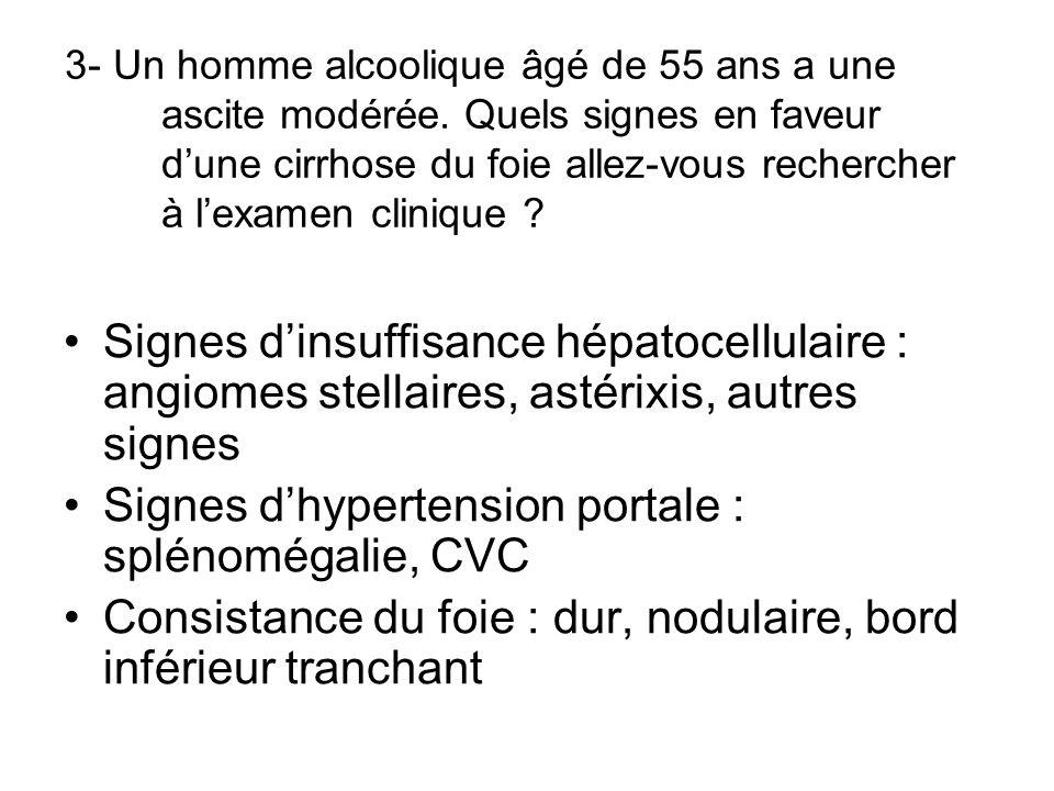 3- Un homme alcoolique âgé de 55 ans a une ascite modérée. Quels signes en faveur dune cirrhose du foie allez-vous rechercher à lexamen clinique ? Sig