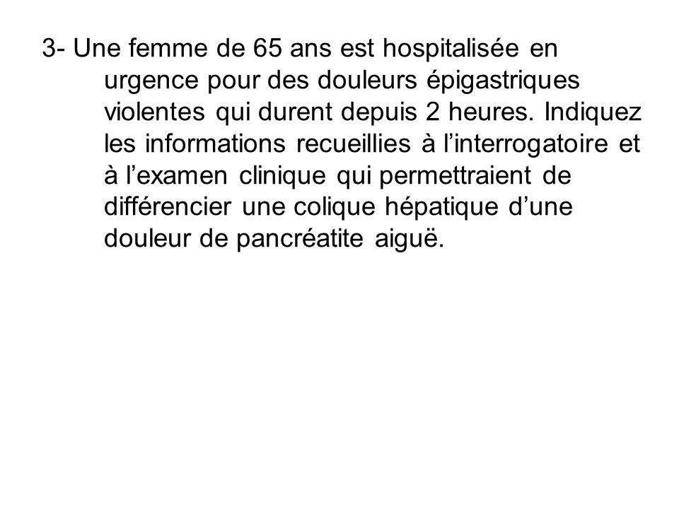 3- Une femme de 65 ans est hospitalisée en urgence pour des douleurs épigastriques violentes qui durent depuis 2 heures. Indiquez les informations rec
