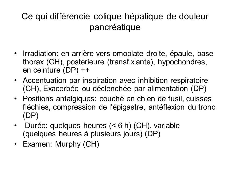 Ce qui différencie colique hépatique de douleur pancréatique Irradiation: en arrière vers omoplate droite, épaule, base thorax (CH), postérieure (tran