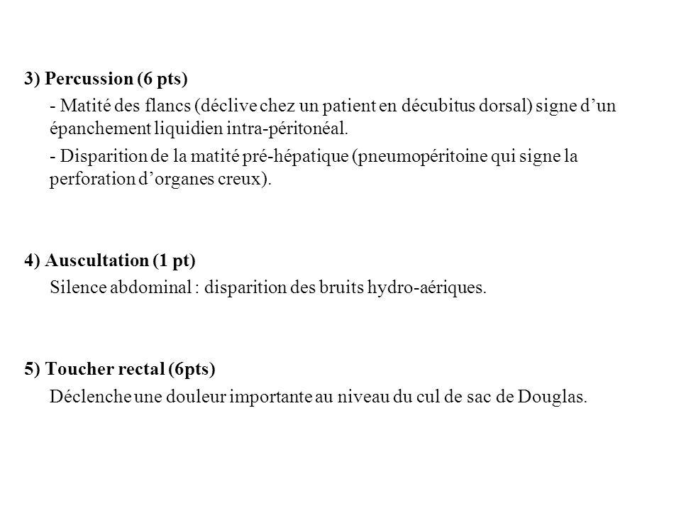 3) Percussion (6 pts) - Matité des flancs (déclive chez un patient en décubitus dorsal) signe dun épanchement liquidien intra-péritonéal. - Disparitio