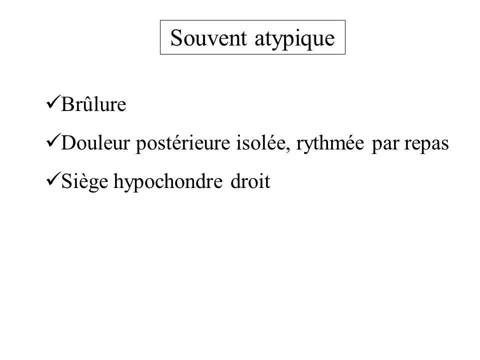 Souvent atypique Brûlure Douleur postérieure isolée, rythmée par repas Siège hypochondre droit