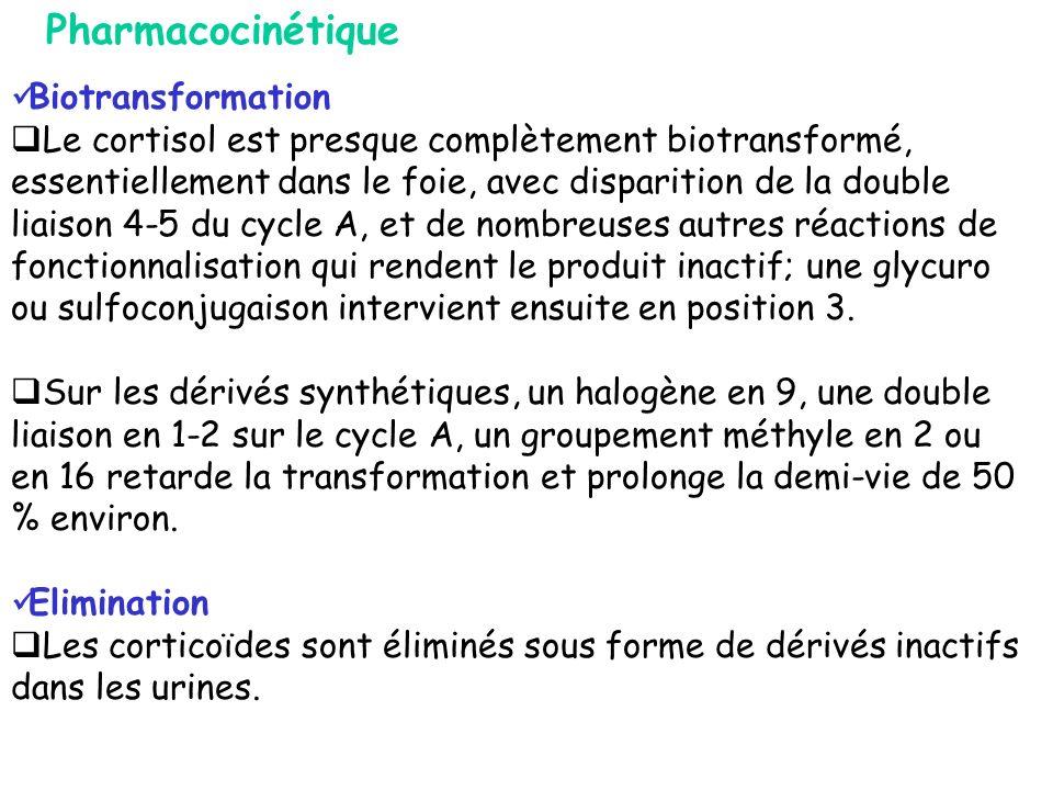 Biotransformation Le cortisol est presque complètement biotransformé, essentiellement dans le foie, avec disparition de la double liaison 4-5 du cycle