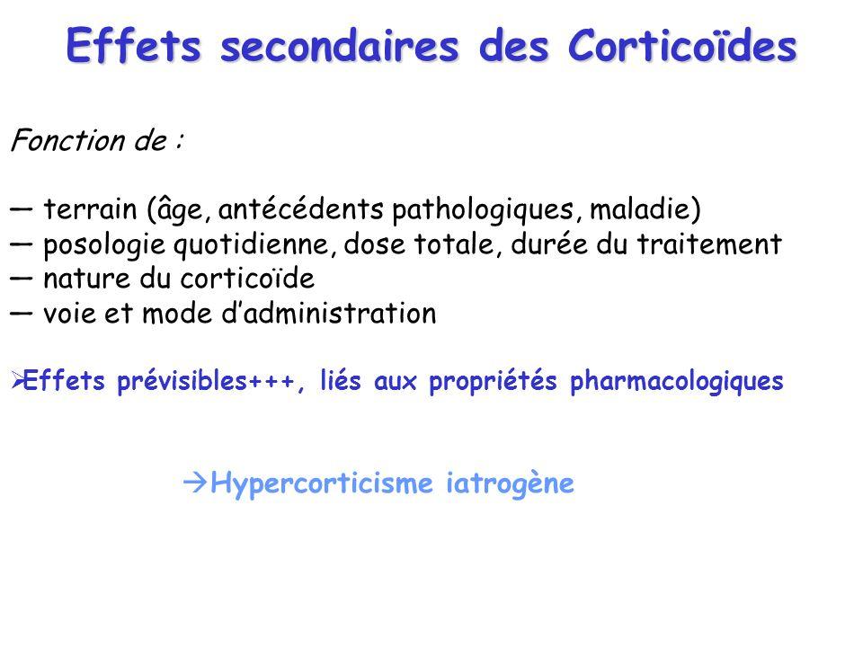 Effets secondaires des Corticoïdes Fonction de : terrain (âge, antécédents pathologiques, maladie) posologie quotidienne, dose totale, durée du traite