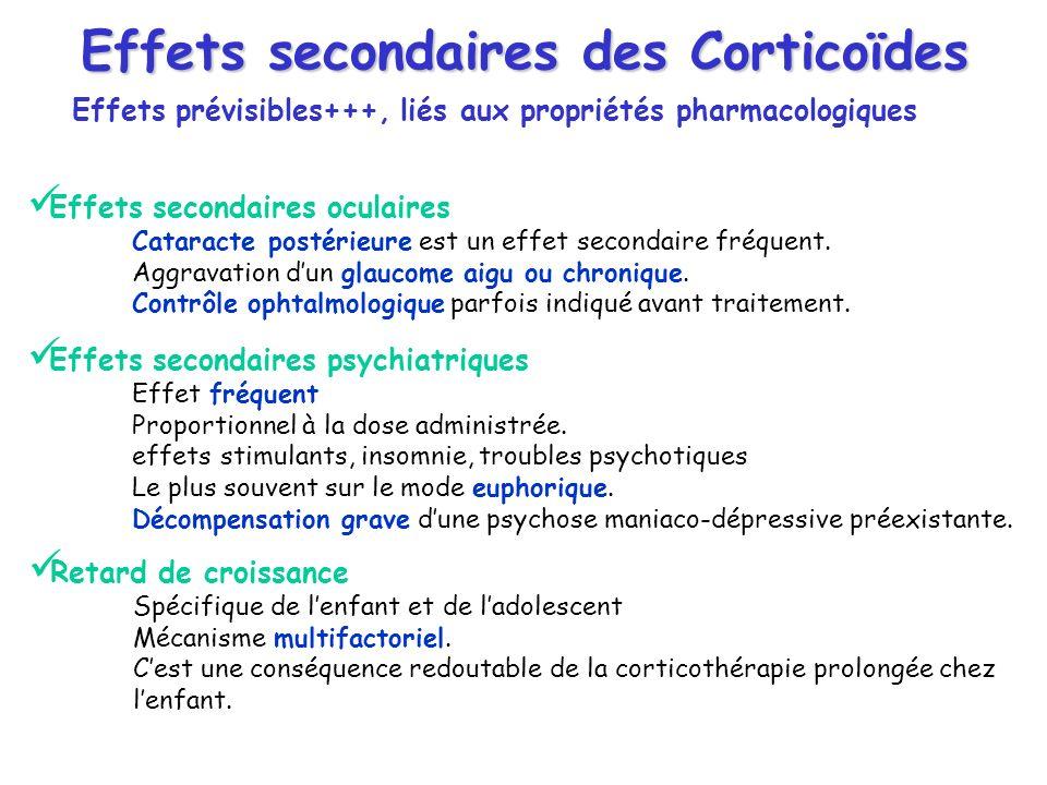Effets secondaires des Corticoïdes Effets prévisibles+++, liés aux propriétés pharmacologiques Effets secondaires oculaires Cataracte postérieure est