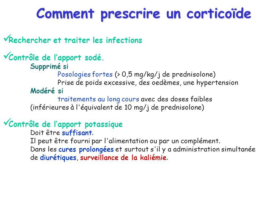 Comment prescrire un corticoïde Rechercher et traiter les infections Contrôle de lapport sodé. Supprimé si Posologies fortes (> 0,5 mg/kg/j de prednis