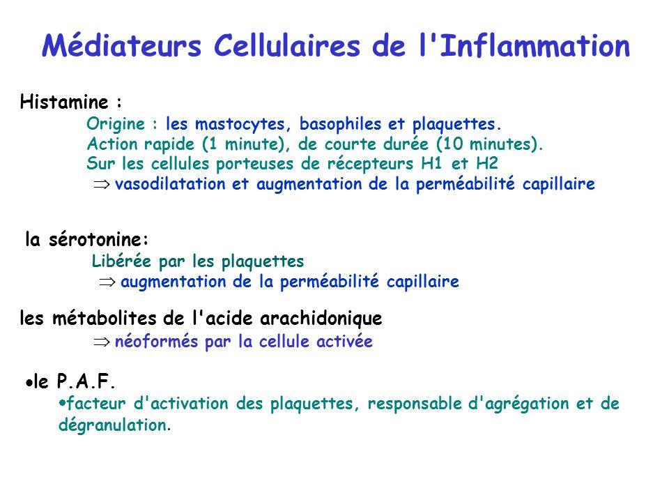 Médiateurs Cellulaires de l'Inflammation Histamine : Origine : les mastocytes, basophiles et plaquettes. Action rapide (1 minute), de courte durée (10