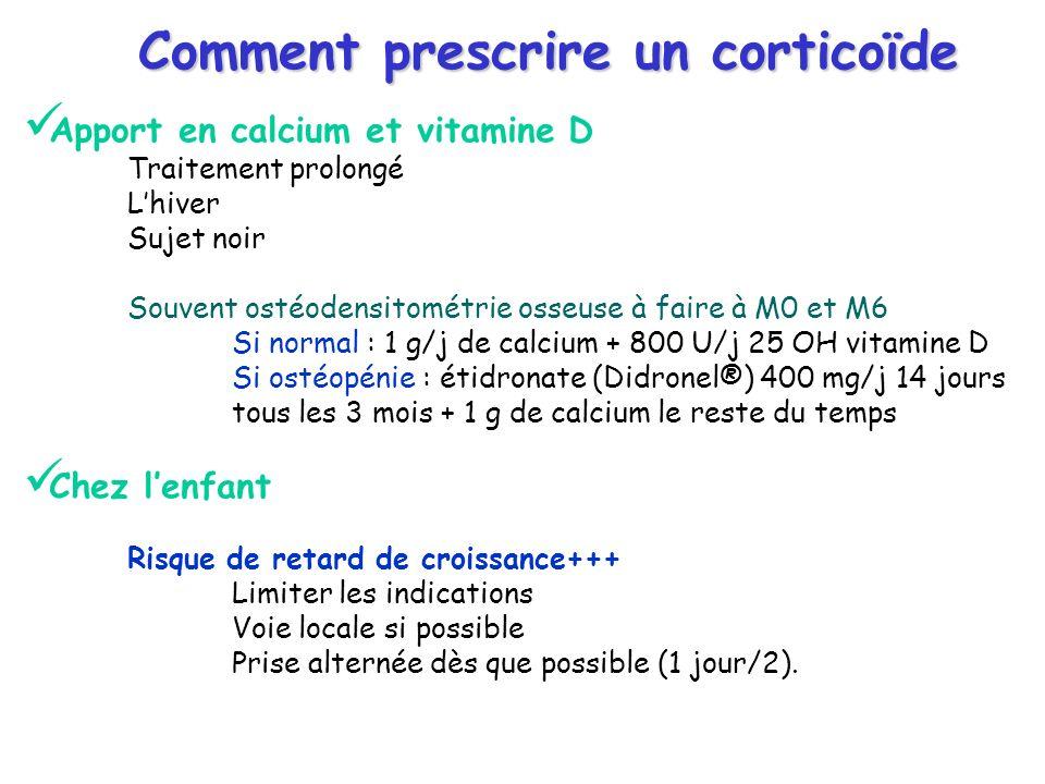 Comment prescrire un corticoïde Apport en calcium et vitamine D Traitement prolongé Lhiver Sujet noir Souvent ostéodensitométrie osseuse à faire à M0