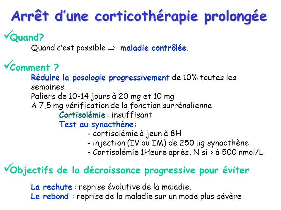 Arrêt dune corticothérapie prolongée Quand? Quand cest possible maladie contrôlée. Comment ? Réduire la posologie progressivement de 10% toutes les se