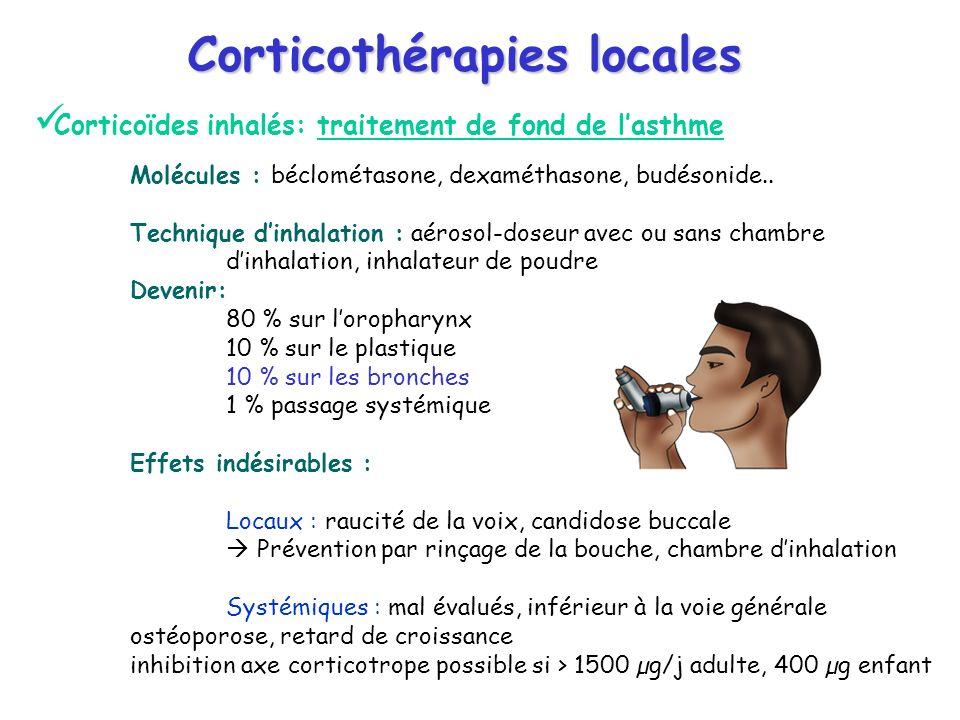 Corticothérapies locales Corticoïdes inhalés: traitement de fond de lasthme Molécules : béclométasone, dexaméthasone, budésonide.. Technique dinhalati