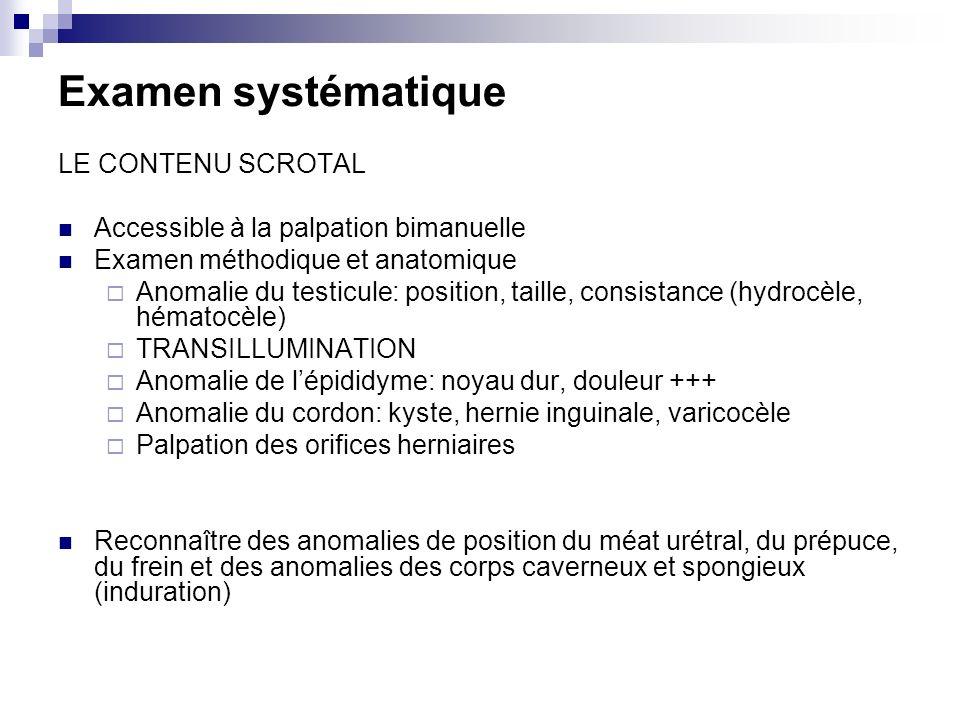 Examen systématique LE CONTENU SCROTAL Accessible à la palpation bimanuelle Examen méthodique et anatomique Anomalie du testicule: position, taille, consistance (hydrocèle, hématocèle) TRANSILLUMINATION Anomalie de lépididyme: noyau dur, douleur +++ Anomalie du cordon: kyste, hernie inguinale, varicocèle Palpation des orifices herniaires Reconnaître des anomalies de position du méat urétral, du prépuce, du frein et des anomalies des corps caverneux et spongieux (induration)