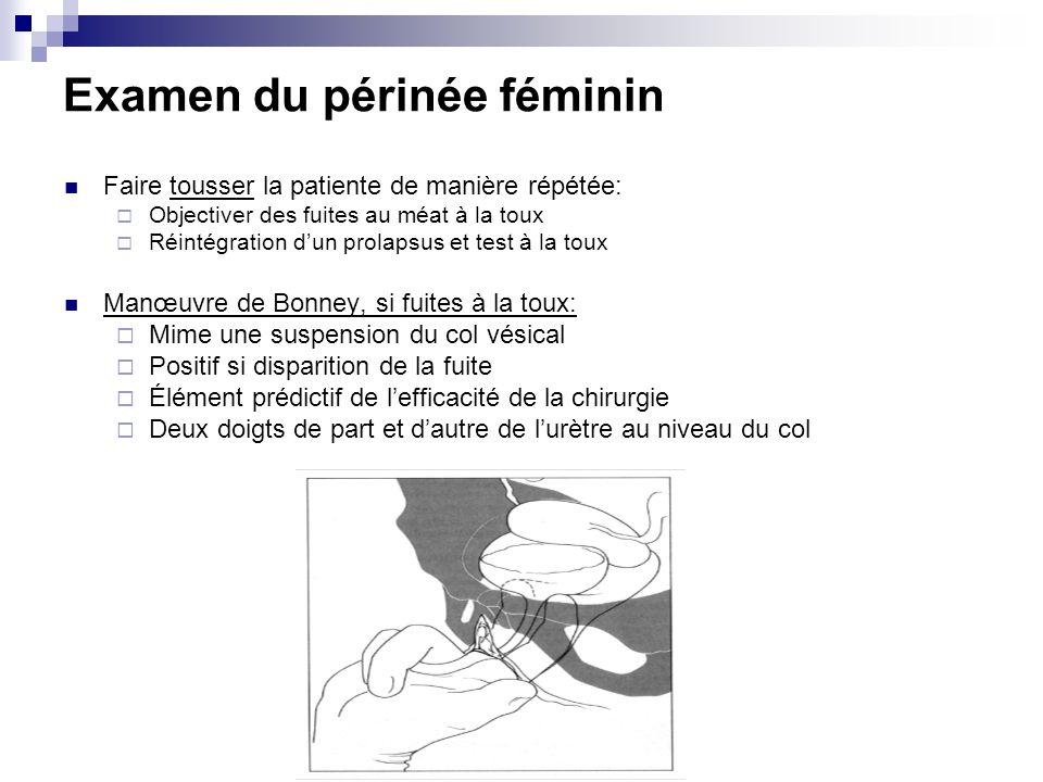 Examen du périnée féminin Faire tousser la patiente de manière répétée: Objectiver des fuites au méat à la toux Réintégration dun prolapsus et test à