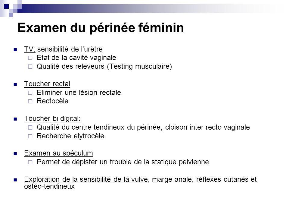 Examen du périnée féminin TV: sensibilité de lurètre État de la cavité vaginale Qualité des releveurs (Testing musculaire) Toucher rectal Eliminer une