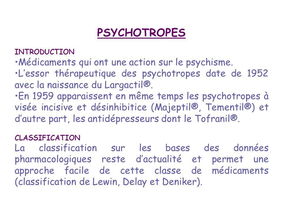 ClassesExemples Psycholeptiques ou sédatifs -agissant sur la vigilance ou Nooleptiques Hypnotiques Benzodiazépines -agissant sur l humeur ou Thymoleptiques Neuroleptiques Phénothiazines Butyrophénones Benzamides Anxiolytiques Benzodiazépines Thymorégulateurs ou normothymiques Sels de lithium Carbamazépine Psychoanaleptiques ou stimulants: - Stimulants de l humeur ou Thymoanaleptiques: Antidépresseurs IRS et IRSNA Tri et quadricycliques - Stimulants de la vigilance NooanaleptiquesAmphétamine et dérivés - Autres stimulantsXanthines Acide ascorbique Psychodysleptiques ou perturbateurs: Hallucinogènes ou onirogènesLSD Mescaline