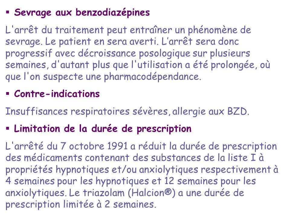 Sevrage aux benzodiazépines L'arrêt du traitement peut entraîner un phénomène de sevrage. Le patient en sera averti. Larrêt sera donc progressif avec