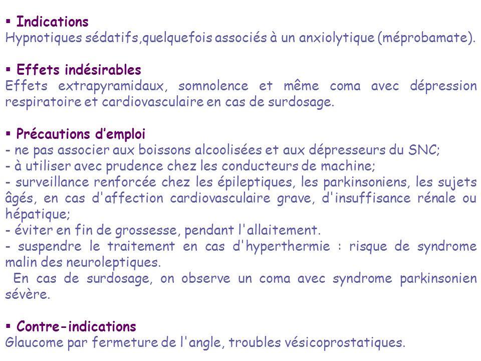 Indications Hypnotiques sédatifs,quelquefois associés à un anxiolytique (méprobamate). Effets indésirables Effets extrapyramidaux, somnolence et même